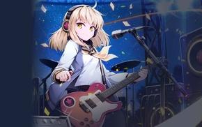 headphones, electric guitar, MapleStory2, microphones