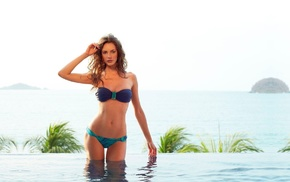 auburn hair, water, swimming pool, bikini, model, Reka Ebergenyi