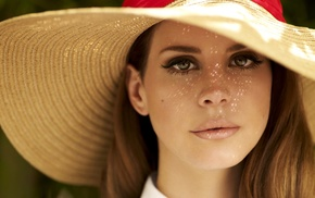 hat, face, girl, green eyes, blonde, Lana Del Rey