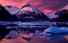 snowy peak, reflection, glaciers, winter, ice, Alaska