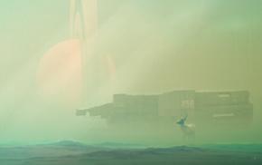 green, Desktopography, deer, science fiction, spaceship