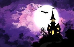 bats, vector art, purple, Halloween