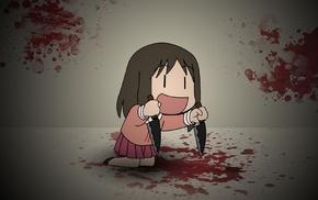 anime girls, anime, knife, Azumanga Daioh, blood, Kasuga Ayumu