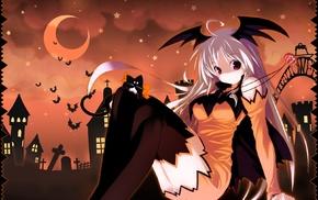 anime, anime girls, Halloween, original characters