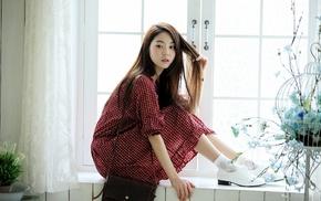 brunette, Chae Eun, Asian, dress, red dress, window sill