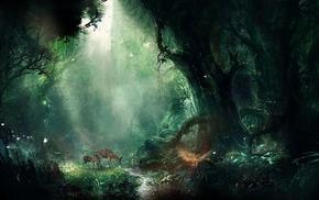fantasy art, animals, forest, trees, artwork, deer