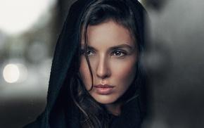 Georgiy Chernyadyev, depth of field, brunette, girl, face, hair in face
