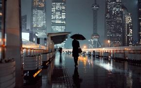 night, skyscraper, tower, Shanghai, city lights, umbrella