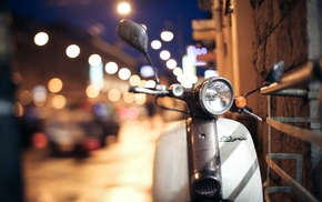 Honda, night, motorcycle, city lights