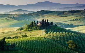 Europe, Italy, haystacks, farm, sunlight, field