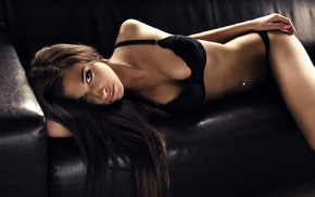black panties, brunette, long hair, flat belly, model, sensual gaze