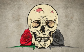 rose, thorns, digital art, drawing, skull, teeth