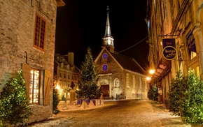 night, trees, Christmas, Christianity, snow, building