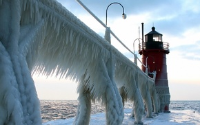 lighthouse, ice
