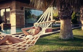 summer, bikini, Alena Emelyanova, smiling, hammocks, model