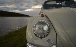 Headlights, Volkswagen, Oldtimer, water, Volkswagen Beetle, vintage