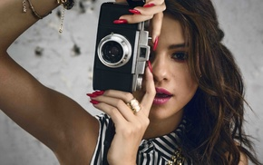 face, open mouth, red nails, camera, Selena Gomez, brunette