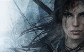 eyes, Tomb Raider, bows, Lara Croft, video games, face