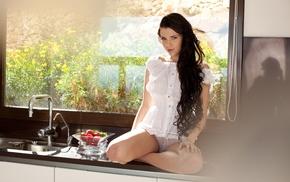 girl, Valeria A, window, panties, kitchen, model