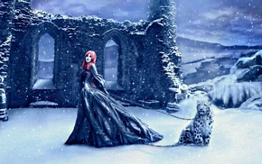 girl, winter, fantasy art, artwork, snow, redhead