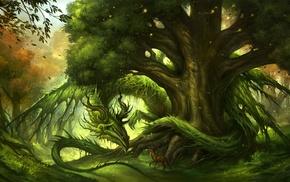 artwork, deer, trees, dragon, green, fantasy art