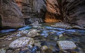canyon, long exposure, nature, rock, stones, water
