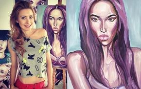 drawing, Magdalena Gawcka, blonde, Madeline Gavi, painting, girl