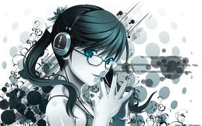 anime, anime girls, original characters, meganekko, headphones, glasses