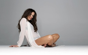 see, through clothing, barefoot, sitting, brunette, simple background