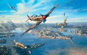 dogfight, Luftwaffe, Royal Airforce, Supermarine Spitfire, Malta, military aircraft