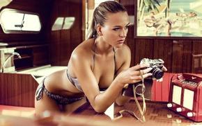 camera, cleavage, girl, model, tanned, bikini