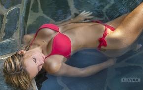 wet hair, bikini, blonde, girl, wet body, closed eyes