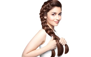 Alia Bhatt, bare shoulders, portrait, tank top, actress, braids