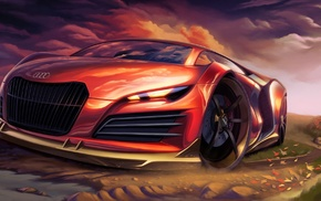 brakes, sports car, Audi, leaves, clouds, painting