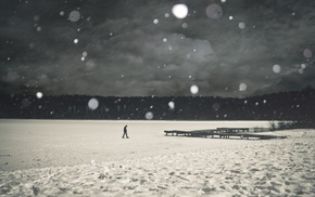 trees, landscape, men, nature, pier, winter
