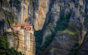 trees, house, architecture, cliff, mountain, landscape