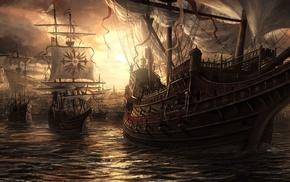 ship, artwork, fantasy art