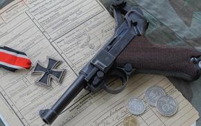 Luger P08, Iron Cross, pistol, World War II, Nazi, gun