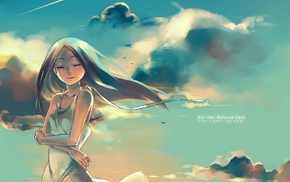 anime, clouds, original characters, anime girls