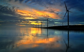 nature, wind turbine, reflection, sunset