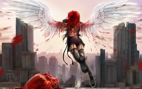 fantasy art, building, redhead, skyscraper, digital art, rear view