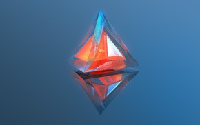 geometry, abstract, reflection, warm colors, digital art, triangle