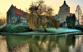 nature, reflection, Germany, castle, grass, sunset
