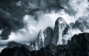 mountain, British Columbia, rock, clouds, dark, mist