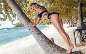 model, smiling, beach, bikini, black panties, coast
