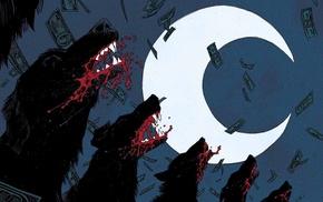 wolf, moon, comic books, Moon Knight, dog, cover art