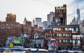 city, graffiti, New York City