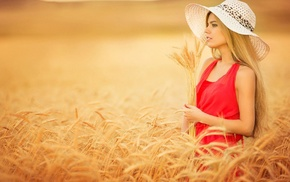 long hair, wheat, hat, girl, blonde, red dress