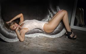 open mouth, Anastasia Scheglova, leotard, tattoo, girl, blonde