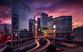 overpass, modern, sky, building, lights, France